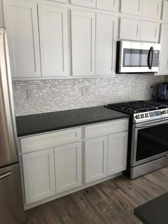 Home Remodeling White Cabinets White Pearl Subway Tile Kitchen Backsplash Backsplash For White Cabinets, White Kitchen Cabinets, Kitchen Tiles, Diy Kitchen, Kitchen Decor, Backsplash Tile, Black Granite Countertops, Rustic Kitchen, Backsplashes With White Cabinets