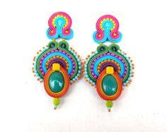 Turquoise Dangle Earrings Handmade Soutache by GiSoutacheJewelry