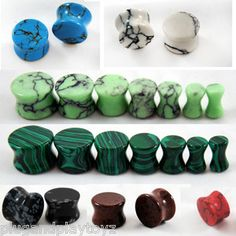 CHOOSE 5 PAIRS ~ Organic Natural Polished Stone Ear Plugs Gauges Double Flared Starting @ $21.00