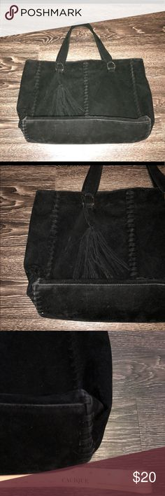 Black just fab tote Black suede like tote with great side detail. Hardly used. Great condition. Measurements shown in pic JustFab Bags Totes