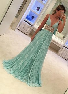 lace mint green prom dresses, long lace prom dresses, cheap prom dresses for women, 2017 prom dresses for women, v-neck prom dresses for women, long women's prom dresses, dresses for women