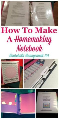How to make a homemaking notebook, including a round up of resources and printables you can use to help clean, organize and manage your home on Household Management 101 Household Notebook, Household Binder, Household Organization, Binder Organization, Organizing Life, Printable Organization, Organizing Paperwork, Home Binder, Home Planner
