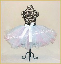 Aqua, Pink and White Tutu with White Satin Bow in Baby to Adult Sizes