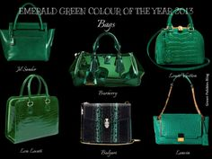 Green Pebbles A Passion for Luxury Fashion and Watches: EMERALD GREEN PANTONE COLOUR OF THE YEAR - OUR HANDBAG SELECTION