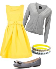 """Grey and Yellow"" by wcatterton on Polyvore dress may need to be longer=)"