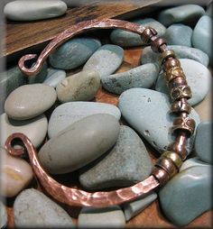 Forged Copper Cuff with Brass and Copper Beads  by TrixiesJewelBox, $24.00