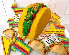 Mexican Fiesta Birthday Party with Taco Smash Cake and Sombrero, Piñata, Taco and Uno Cookies Mexican Fiesta Cake, Mexican Fiesta Birthday Party, Fiesta Theme Party, Taco Party, Mexican Party, Boy Birthday Parties, Mexican Cakes, Birthday Ideas, 2nd Birthday