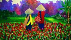 """Vietnam "" Artwork by Artist Sharon Wood  Acrylic on Canvas For Sale  swoody@internode.on.net"
