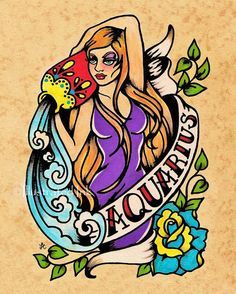 Old School Tattoo Zodiac Art AQUARIUS Water por illustratedink