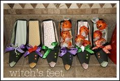 Paper witch shoes for cute Halloween treats...I make these every year...everyone LOVES them..