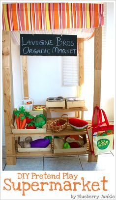 Pretend Market   DIY Pretend Play Supermarket made from Ikea shoe racks.