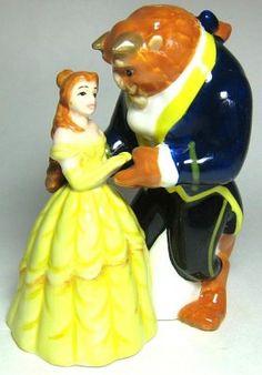 Belle and Beast dancing magnetized salt and pepper shaker set
