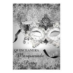 Silver Sparkle Snowflake Masquerade Quinceanera Card