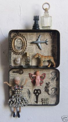 Assemblage Art #1087 ~Lets Fly~ 3D Vintage found Objects Mixed Media Art - Sari