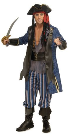 Pirate Captain Jacket, attached shirt, belt, pants, attached boot tops. Sword NOT Included