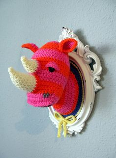 Crochet Animal Heads   @Joyce Wilkins O says, 'this is soooo cute! I like totally love that!'...so I told her you'd make it for her for Christmas...