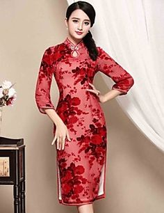 I-YECHO Women's Casual/Daily Chinoiserie Sheath DressJacquard Stand Knee-length  Sleeve Red Polyester Fall Mid Rise Micro-elastic Medium