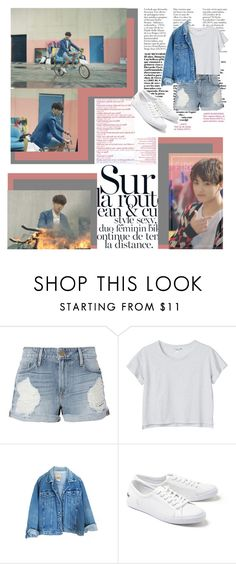 """""""Bike Riding W/Kookie"""" by ninaxo17 on Polyvore featuring MAC Cosmetics, Frame, Monki, Lacoste, Pink, Fire, kpop, bts and jungkook"""