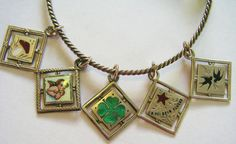 Antique Art Nouveau German Silver Enamel Bangle Charm Bracelet ~ 5 Lucky Charms #Unbranded #SILVERCHARMBANGLE
