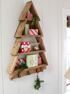 Ana White & Build a Tree Wall Shelf & Free and Easy DIY Project and Furniture Plans Wooden Christmas Trees, Noel Christmas, Rustic Christmas, Outdoor Christmas, Diy Christmas Wall Decor, Christmas Tree Boxes, Christmas Tree Storage, Christmas Gifts, Christmas Wood Crafts
