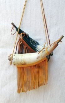Native American Black Powder Horn Buckskin Brass