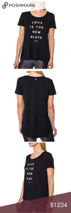 """🎉HP!!🎉NWT Betsey Johnson graphic tee 🎉🍾Host pick 2/5!!🍾🎉Betsey Johnson Performance tee in black with """"Love is the new black"""" graphic on the front. Roundneck flowy fit with short sleeves, about 26"""" long. Material is viscose. Brand new with tags! Betsey Johnson Tops Tees - Short Sleeve"""