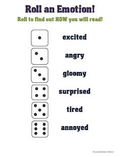 Roll-an-Emotion Activity. I'd have to come up with some better attitudes, but the idea of rolling the dice is really fun for the classroom.