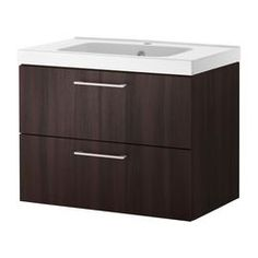 GODMORGON/ ODENSVIK wash-stand with 2 drawers, black-brown Width: 63 cm Wash-stand width: 60 cm Depth: 49 cm