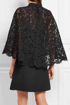 Black corded lace and wool and silk-blend Concealed hook and zip fastening at back cotton, viscose, polyamide; silk, elastane Dry clean Made in Italy Stylish Dresses, Casual Dresses, Short Dresses, Fashion Dresses, Kebaya Lace, Model Kebaya, Gala Dresses, Fashion Line, Muslim Fashion