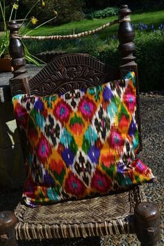 I so don't need another pillow. But I want this. Ethnic Uzbek Ikat Silk handwoven cushion cover by margoshka