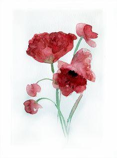 Watercolor painting of PeoniesArt painting watercolor Red by rakla, $25.00