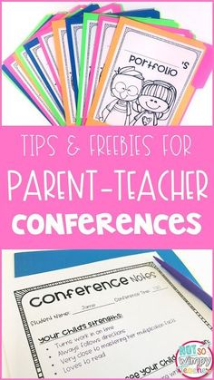 Parent conferences are tough! Check out these tips for easier parent-teacher conferences. Grab the free conference forms and student portfolio covers! Parent Teacher Conference Forms, Parent Teacher Meeting, Parent Teacher Communication, Meet The Teacher, Parent Teacher Interviews, Parents Meeting, Student Teacher, Student Learning, Professor