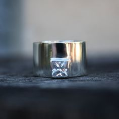 cubic zirconia engagement ring edgy statement sterling ring with square stone unique wedding band. $125.00, via Etsy.