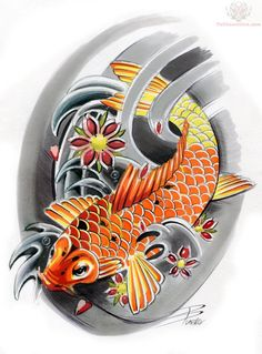Japanese Koi Tattoo-- I want to get something like this on my side except with a lily pad and my Japanese last name?