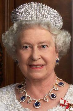 Queen Elizabeth II in diamonds and sapphires--Wearing the Vladamir Russian fringe tiara.