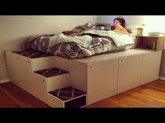 Watch this guy transform IKEA kitchen cabinets into a platform bed with storage | CONTEMPORIST