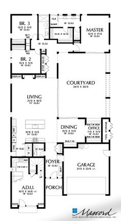 Main Floor Plan image for Mascord Alameda North-Contemporary Design with Courtyard and Two Story Separated Apartment-Main Floor Plan Contemporary Style Homes, Contemporary House Plans, Modern House Plans, Small House Plans, Contemporary Design, Modern Homes, Modern Design, Courtyard House Plans, Lake House Plans