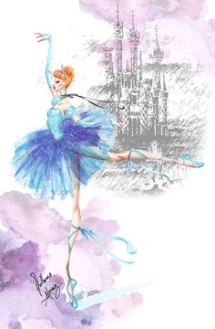 Disney Princesses Ballet Classics: Cinderella by Guillermo Meraz Fashion Illustration