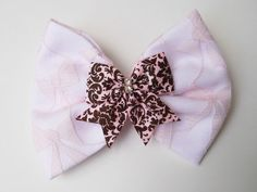 Light Pink Bow Lace Hair Bow  Pink and by MissLottiesBoutique