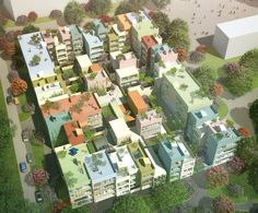 Dutch studio MVRDV has won a competition to design 95 homes in Emmen, Switzerland, with plans that give every residence an identifiable colour. (2013)