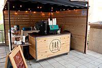 SOLD: Mobile espresso cart and equipment Food Stall Design, Food Cart Design, Food Truck Design, Mobile Coffee Cart, Mobile Coffee Shop, Cafe Shop Design, Coffee Shop Interior Design, Coffee Van, Coffee Bar Home