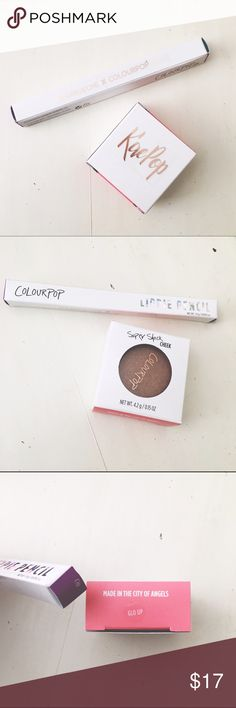 Kaepop x Colourpop Makeup Bundle Karrueche x Colourpop makeup bundle one chi lippie pencil a cool nude and glo up blush/highlighter/bronzer gold flakes of golden copper in a pearlized finish. Both are brand new never used/opened. Perfect to add to a bundle purchase YES to: Bundle Discounts NO to: Trades / Modeling / Holds  Happy Poshing!!  Colourpop Makeup Bronzer