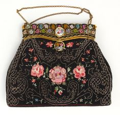 $450 Antique French micro-beaded and embroidered evening bag from the 1930s. It was probably stored away with care and rarely used. No longer on the vintagetextile.com website as it sold, but there are other lovely clothes, etc available.
