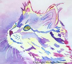 30X36 Giclee Purple Cat Watercolor Print by BelleLuneArts on Etsy