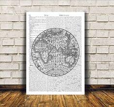 Antique art World map poster Vintage print Wall by OneDictionary Antique Prints, Antique Art, Vintage Prints, Vintage Posters, Vintage Newspaper, Globe Ornament, World Map Poster, Viking Art, Framed Maps