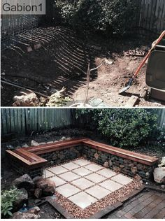 before and after gabion seating using 21in tall x 12in thick gabions http://www.gabion1.com