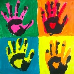 Have students create a Warhol inspired handprint piece, then move on to Roy Litchenstein and teach students q-tip style art. What is Art? Andy Warhol and Pop Art Lesson Kindergarten Art Lessons, Art Lessons Elementary, Classroom Art Projects, Art Classroom, Pittsburgh, Andy Warhol Pop Art, First Grade Art, Collaborative Art, Art Plastique