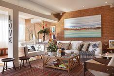 Casa de valentina; projeto; apartamento; cobertura; sala de estar; parede de tijolo