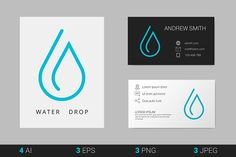 Vector Template Templates 3 minimalistic outline logo of water drop.Used free fon by Legend Art Water Drop Logo, Water Logo, Business Brochure, Business Card Logo, Branding Design, Logo Design, Graphic Design, Logos, Water Drops