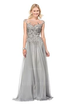 A-Line/Princess Bateau Sweep/Brush Train Chiffon Mother of the Bride Dress